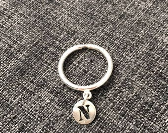 Marc deloche style 925 sterling silver letter charm ring