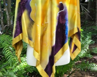"""Hand painted silk poncho """"Sunny Days"""""""