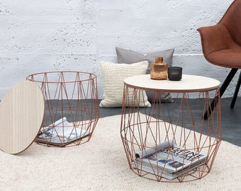 Storage small side tables 2 pieces set, wire baskets, storage space for pillows, books, magazines, side tables, scandinavian style