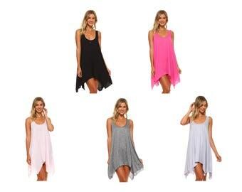 Brand New Flowy Swing Dress Tunic Black Pink Grey Stripe S M L XL 1X 2X 3X Plus