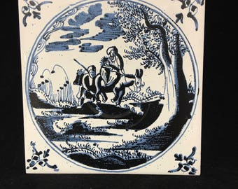 Vintage Pilkington Tile, Mother and Baby on Donkey
