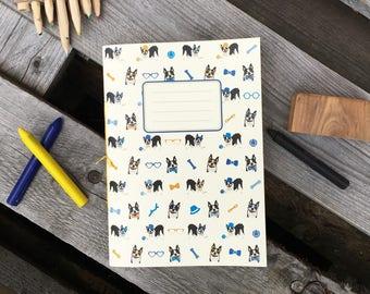 Boston Terrier A5 notebook, sketchbook, stationery