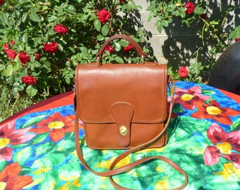 Vintage Coach Bag, British Tan Leather Purse, Station 5130, Top Handle, Crossbody, Shoulder, Messenger, Made in USA, Includes Dust Cover