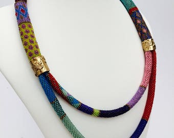 Kaleidoscope Necklace, Beaded Necklace, Beaded rope necklace