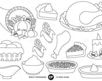 50% OFF SALE! Thanksgiving Digital Stamps, Turkey Line Art, Thanksgiving Dinner Clip Art - Commercial Use, Instant Download