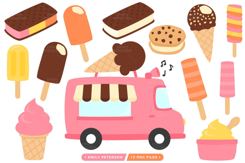 SALE! Ice Cream Truck Clip Art, Ice Cream Clipart, Food ...  SALE! Ice Cream...