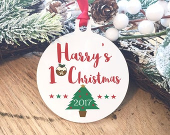 First christmas baby ornament, gift for new born, shower present, tree decoration, 1st christmas bauble, baby's first christmas
