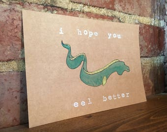 Eel Better - Hand painted greeting card set of 4