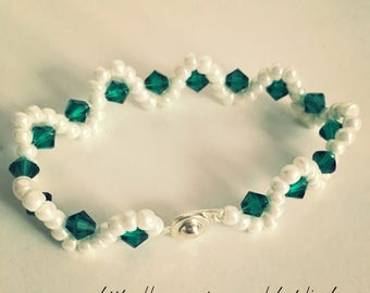Pearl and Green Crystal Bracelet