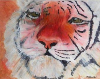 Tiger painting, wildlife painting, tiger wall decor, tiger art, framed painting, tiger lovers, orange living room decor