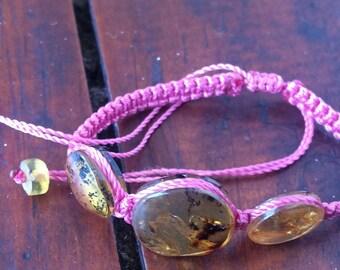 Protection bracelet / Red String and Amber Protection Bracelet / Macrame Red Bracelet /  Mexican Amber / Pulsera protección ámbar de Chiapas