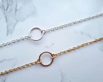 Karma bracelet, circle bracelet, dainty gold silver bracelet, delicate bracelet, simple bracelet, minimal bracelet, eternity bracelet