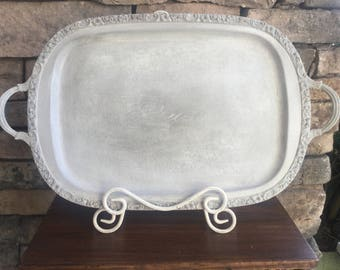 Silver Plated Tray ~ Decorative Display Tray ~ Wedding Tray ~ Vintage Silver Serving Tray ~ Hand Painted White with Dark Waxes ~ Peace ~