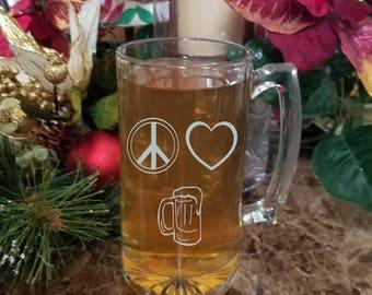 Peace Love Happiness Sandblast beer mug, Personalized beer mug, personalized sandblast beer mug