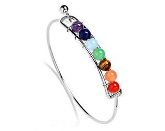 Chakra Healing Bracelet, Metal 7 Chakra adjustable bracelet, Reiki bracelet, Yoga bracelet