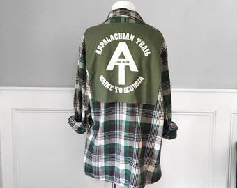 Appalachian Trail Flannel Tee t shirt large flannel shirt appalachian trail t shirt green brown cream flannel one of a kind unisex men's L