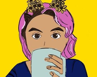 Digital Art: Girl with mug