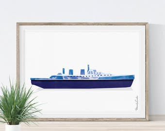 Ship Print, Ship Wall Art, Nursery Wall Art, Transportation Wall Art, Boat Print, Play Room Wall Decor, Nursery Nautical Art