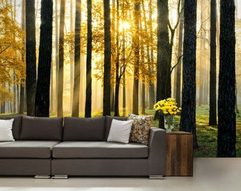 FOREST WALL MURAL, foggy forest wall mural, nature forest, forest mural, self-adhesive vinly, mountains wall mural, sun forest wallpaper