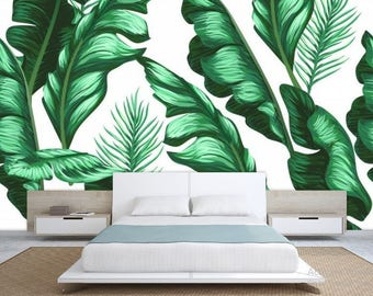 oil painting leaves, leaves painting wall decal, green painting leaf, vintage wall decal, green leaves wallpaper, banana leaves wallpaper