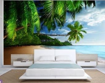 paradise ocean wallpaper, sea wall mural, tropical beach wallpaper, tropical wallpaper, peel and stick, sea emerald wallpaper, coast sea