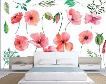 watercolor wallpaper, watercolor rose wallpaper, watercolor modern mural, painted wallpaper, watercolor green wall mural, watercolor leaves