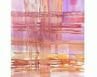 Abstract art Print, Original Watercolor Painting, Modern art, Pink abstract, minimalist Contemporary wall art, peaceful art, 8X10
