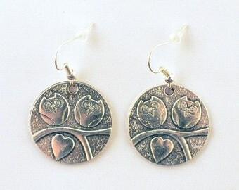 Earrings fantasies - charms - owls in love