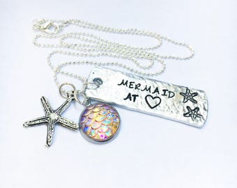 Mermaid At Heart Necklace with Mermaid Charm
