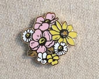 """Limited Edition! Native Wildflower Bouquet + mini zine // Cloisonne Hard Enamel Lapel Pin 1"""" // Flower Enamel Pin"""