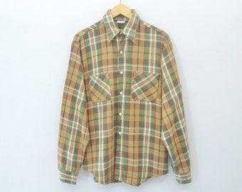 BIG MAC Shirt Vintage 90s Big Mac JC Penny Flannel Checked Design Longsleeve Shirt Mens Size L