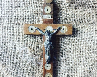 Antique pilgrim's crucifix from Jerusalem. Wood, metal and mother of pearl. French antique. French religious. Pilgrims. 1900s