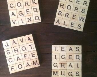 Set of 4 Wooden Scrabble Coasters (Coffee,Tea,Beer,Wine)