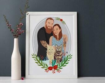 Custom Drawing, Family Illustration, Couple Illustration, Custom Couple Gift, Illustration with Pet, Personalized Portrait, Wedding Gift