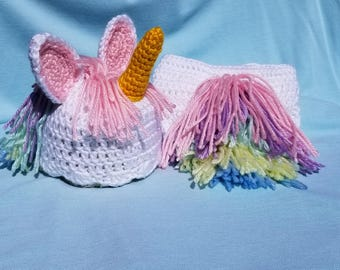 Crocheted unicorn hat and diaper cover