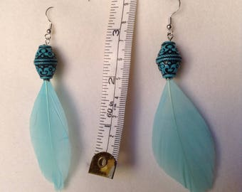 Blue bead and feather earrings