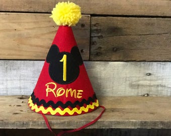 Mickey Mouse cake smash birthday outfit party hat