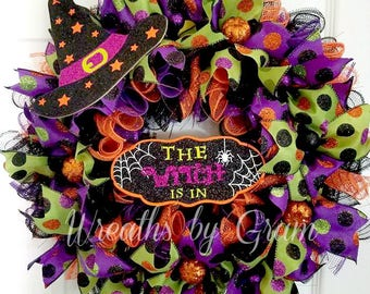 Halloween Wreath   The Witch Is In   Halloween Decor   Fall Wreath   Halloween Decoration   Front Door Wreath   Whimsical Wreath   Witch Hat