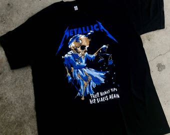 Metallica Money Tips  t shirt color black heavy metal
