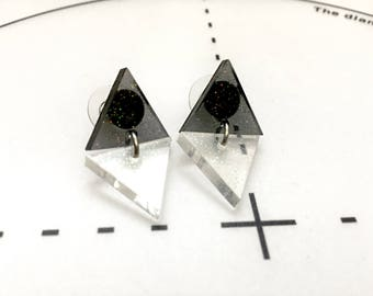 Triangle Stud Earrings - Resin Earrings - Geometric Earrings - Modern Earrings - Stainless Steel - Unique Gift for Her