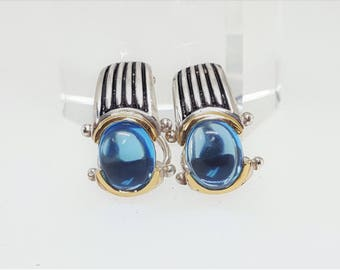 Vintage Sterling & 18KY Blue Topaz Cabochon Earrings