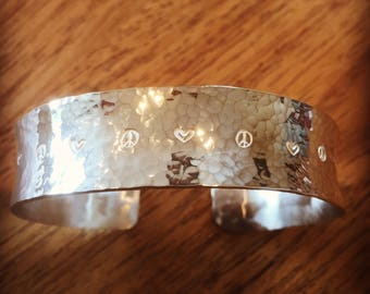 Peace and love sterling silver cufflet  size large