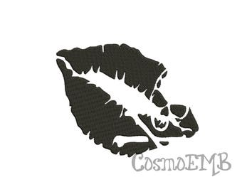 8 Size Skull Lips Kiss Embroidery design Machine Embroidery - Digital INSTANT DOWNLOAD