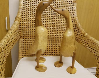 Pair of Wooden duck figures. 41 and 47cm VGC