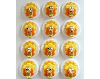 12 Edible Thanksgiving/Turkey Cupcake/Cookie Fondant Toppers - Thanksgiving Party - Thanksgiving Turkey Cupcakes - Thanksgiving Cookies