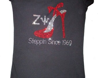 "Delta Sigma Theta-ZETA PSI-Chapter Rhinestone Tshirt ""Steppin Since 1969"" Chapter Founding Year Bling Tshirts-DST Rhinestone-Sorority Tshirt"