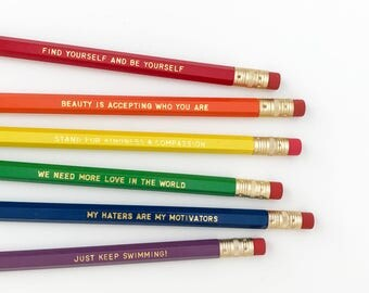 Ellen Personalized Pencil set - Inspirational pencil set - Feminist pencil set - LGBTQ pencil set - rainbow pencil set