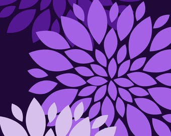Printable Wall Art | Wall Decor | Purple Flowers | Instant Download