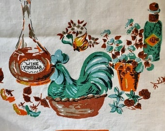 Mid Century Vintage Kitchen Tablecloth