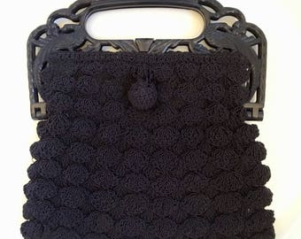 1930's Crochet and Celluloid Handbag